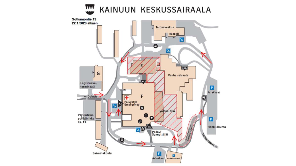 kainuun keskussairaalan kartta.