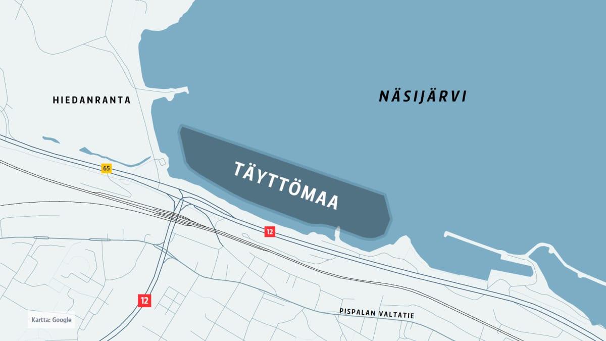 Kartta täyttömaa-alueesta.