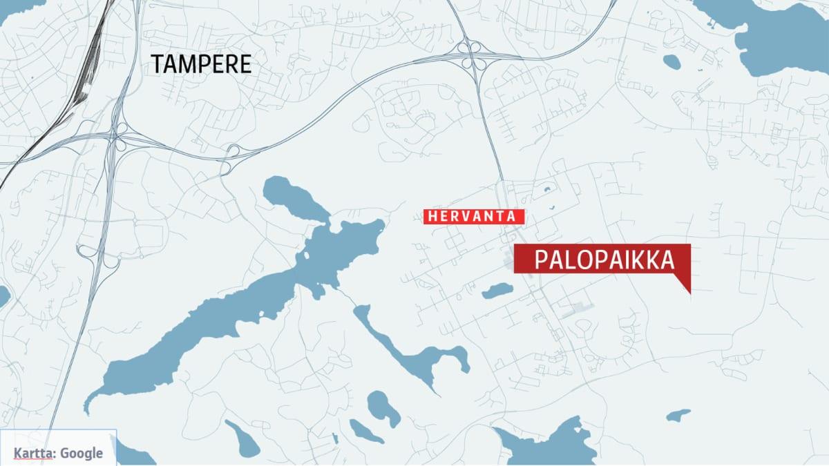 Kartta Tampereen Ruskon tulipalopaikasta