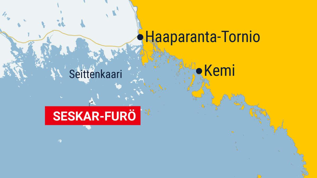Seskar-Furön saari kartalla Haaparannan saaristossa Seittenkaaren eteläpuolella