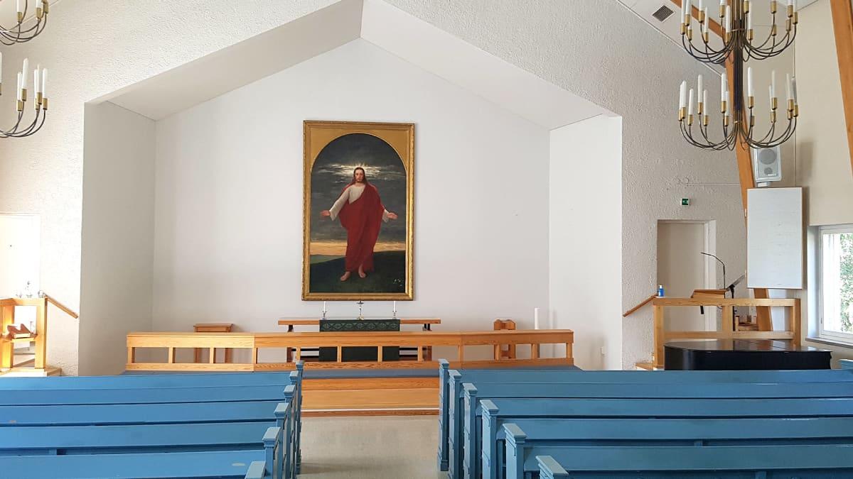 """Jääsken kirkon entinen alttaritaulu, Arvid Liljelundin ölymaalaus """"Tulkaa minun tyköni"""" (1888)"""