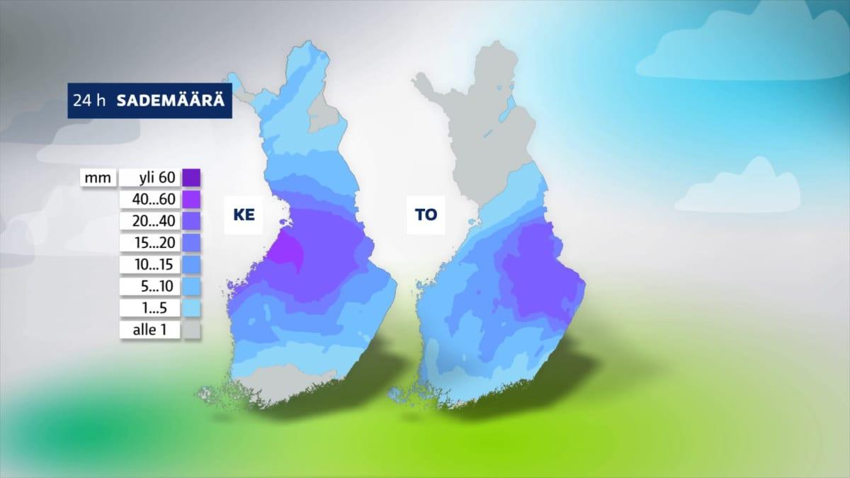 Kahden päivän sademäärät ovat hyvin korkeat, näyttää sääkartta.