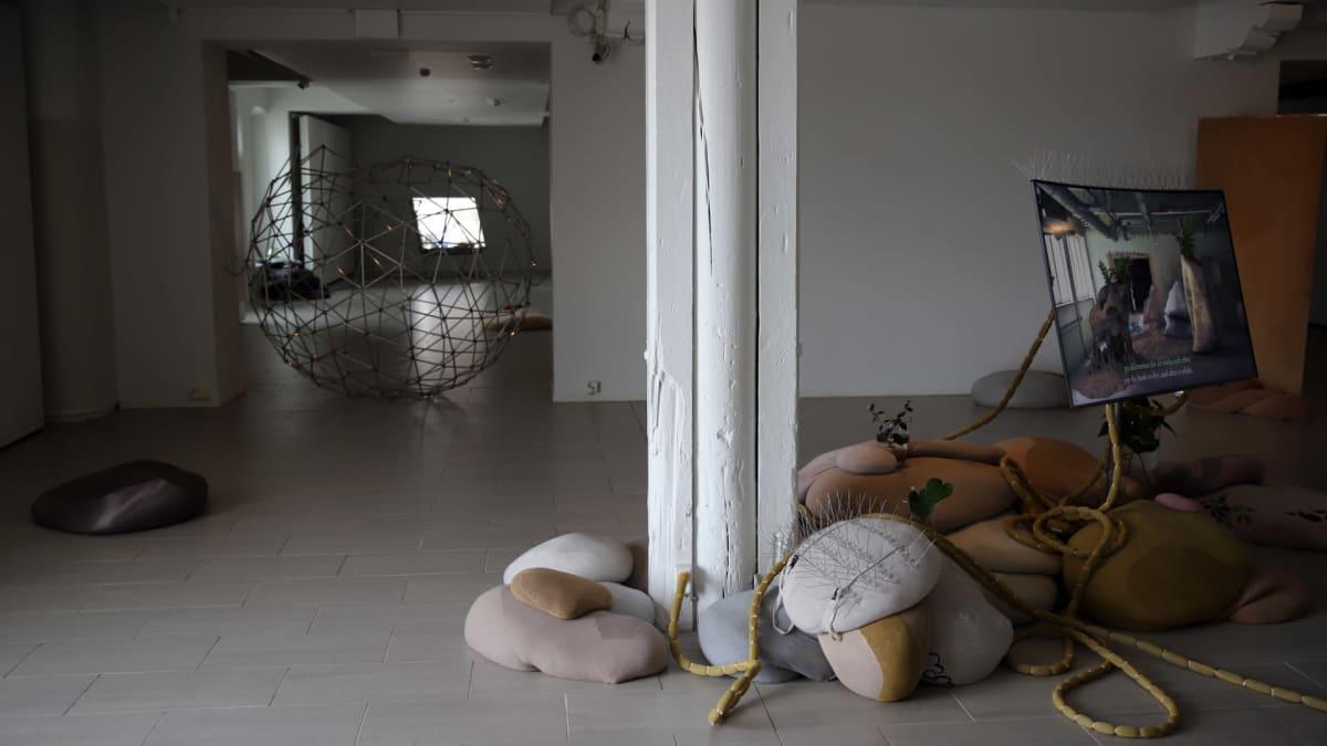 Taiteilijaduo nabbteerin teoksesta osa. Kiviä ja videoteosta Kuntsin museossa.