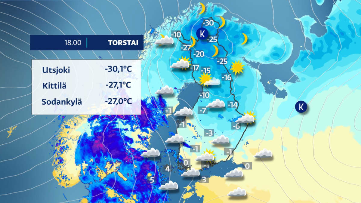 Sääkartta näyttää Suomen kylmimmät lämpötilat torstaina 17.12. kello 18. Utsjoella mitattiin -30,1 astetta ja Kittilässä -27,1 astetta. Etelässä lämpötila pyörii nollan molemmin puolin.