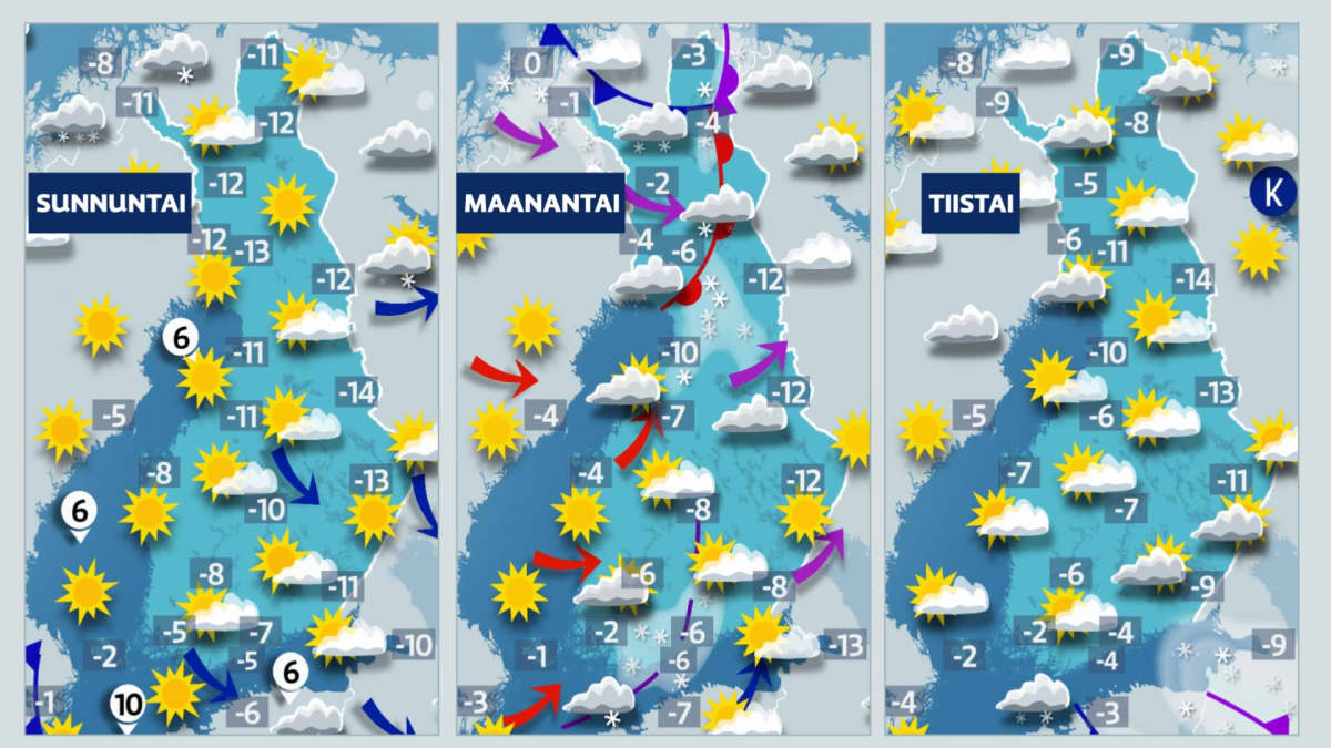 Sääkartta päiville 14.2.2021-16.2.2021