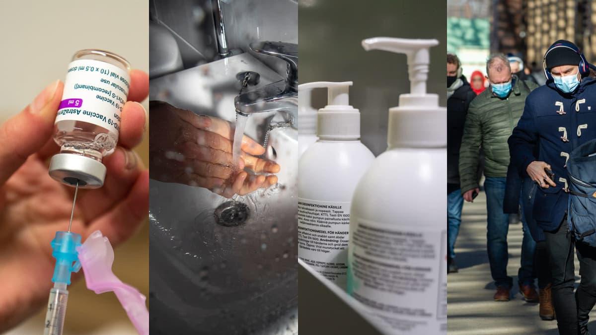 Bildkollage: coronavaccin, handtvätt, desinfektionsmedel och personer med munskydd.