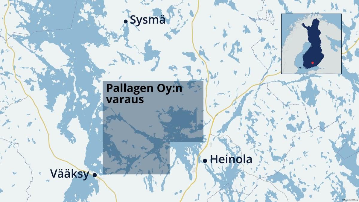 Kartta, jossa näkyy kaivosyhtiö Pallagenin tekemä malminetsintävarausalue.