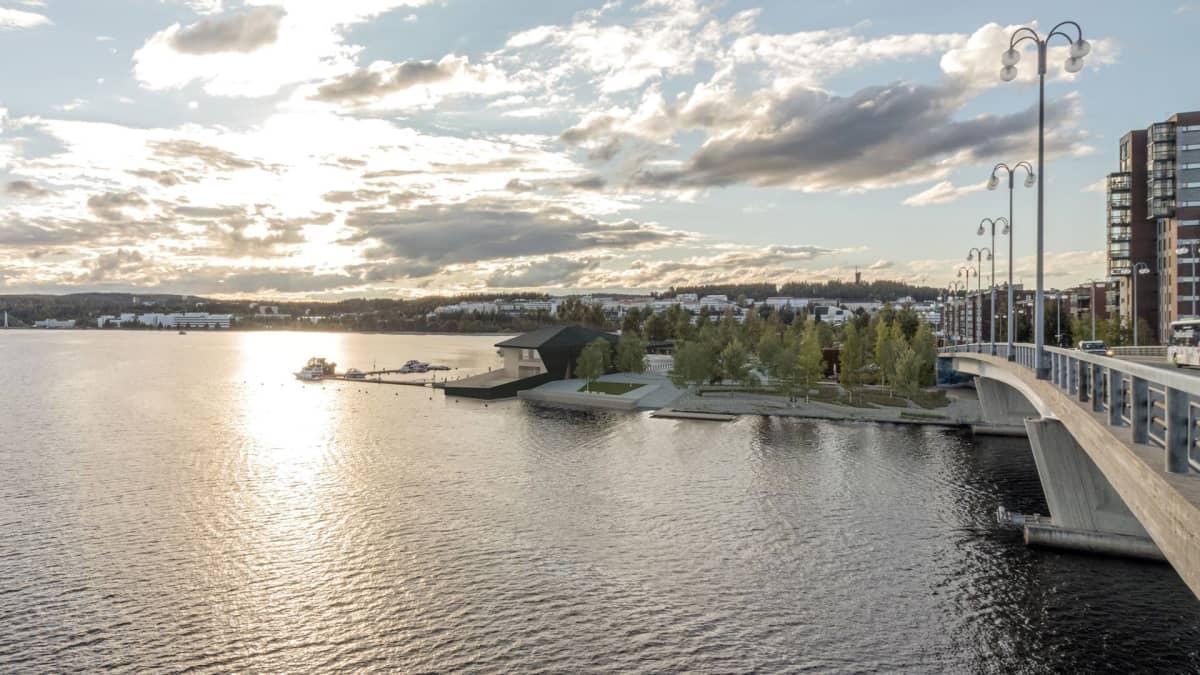 Arkkitehtitoimiston havainnekuva siitä, miltä Jyväskylän satamankärjen on tarkoitus näyttää.