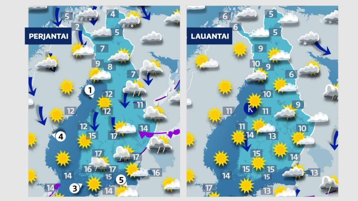 Perjantain ja lauantain sääkartat