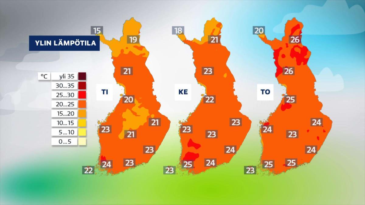 Sääkartta näyttää helteisiä yli 20 asteen säitä tiistaille, keskiviikolle ja torstaille.