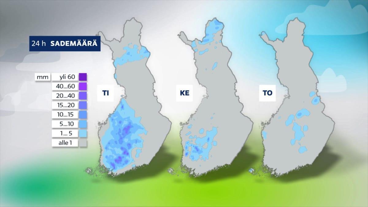 Sääkartta ennustaa tiistaille kuurosateita Länsi-Suomeen, mutta viikon edettä kuurot vähenevät.