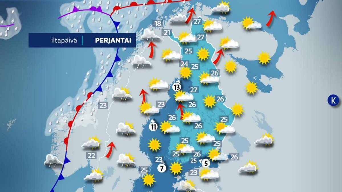 Perjantain 11.6. sääennuste lupaa aurinkoista ja poutaista säätä koko Suomeen.