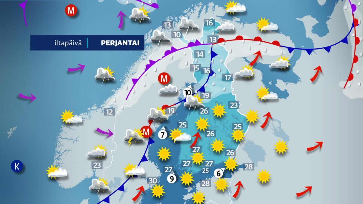Perjantain 18.6. sääennuste.