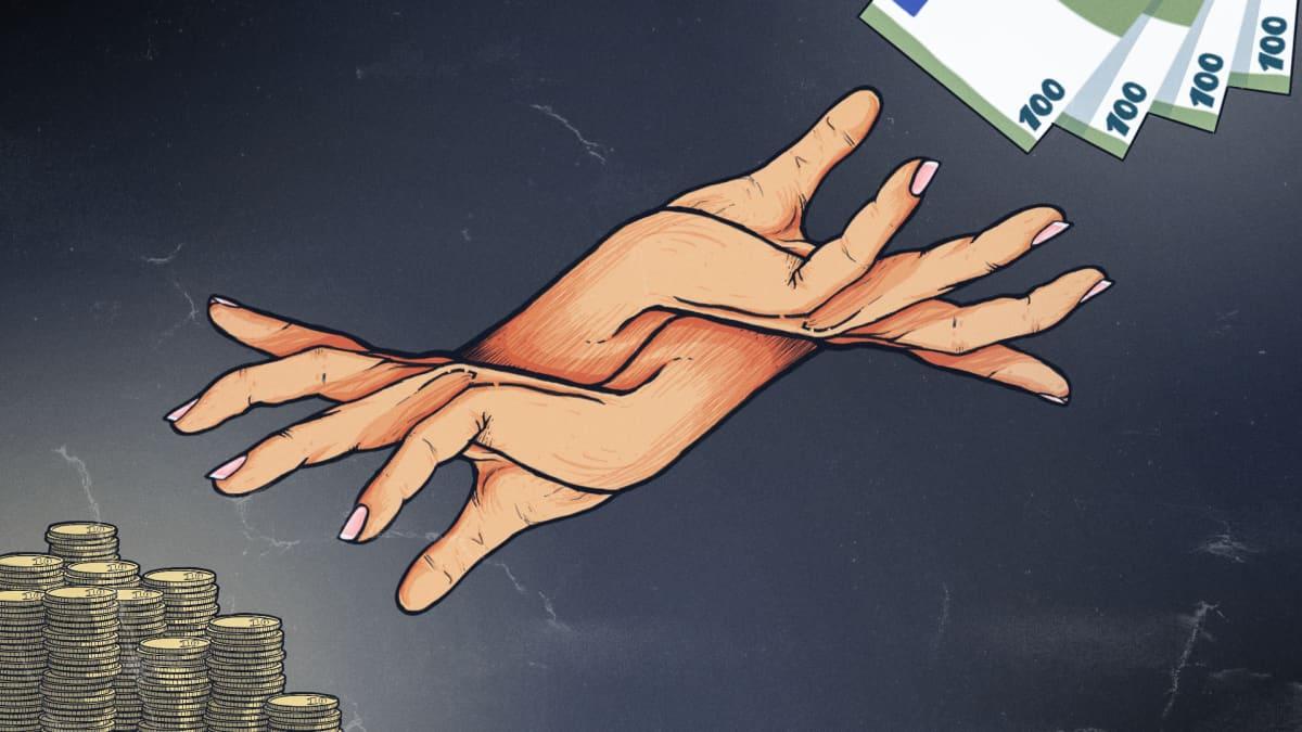Kuvituskuva, jossa vasemmalla käsi kurottaa 10 sentin kolikoista muodostuviin kasoihin ja oikealla toinen käsi kurottaa 100 euron seteleihin.