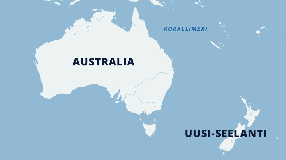 Kartta, jossa näkyy Korallimeren sijainti Australian rannikolla.