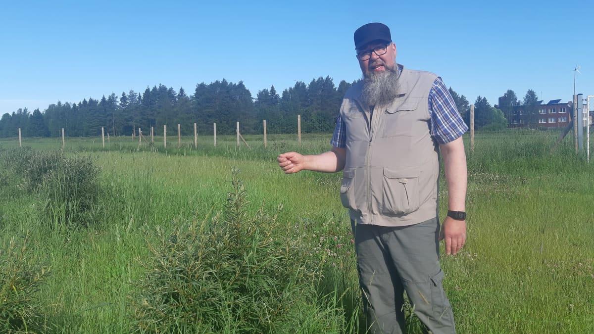 Louen maatalousoppilaitoksen toimipaikkapäällikkö Jarmo Saariniemi seisoo tyrnipensaan vierellä.