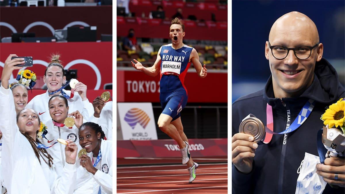 Yhdysvaltojen naisten koripallojoukkue juhlii mitaleita, Karsten Warholm olympiajuoksun jälkeen ja Matti Mattsson olympia-pronssin kanssa