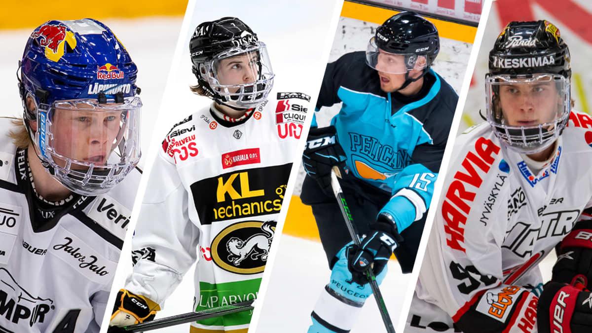 Jääkiekkoilijat Juuso Pärssinen, Topi Niemelä, Mikko Kokkonen ja Brad Lambert