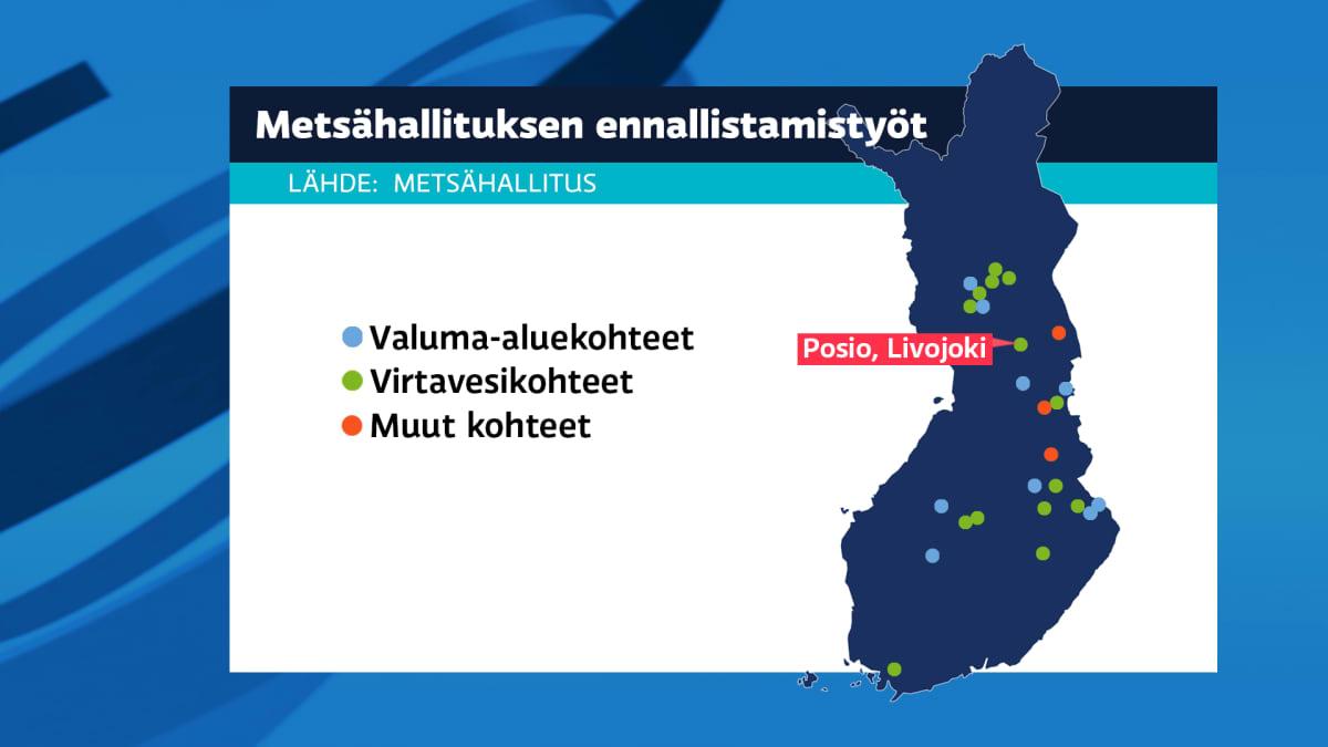 Metsähallituksen kunnostukset kartalla