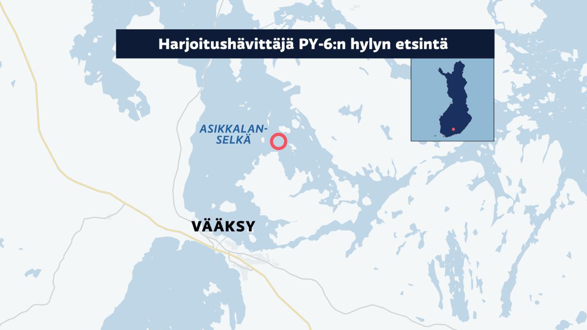 Harjoitushävittäjän mahdollinen putoamispaikka kartalla.