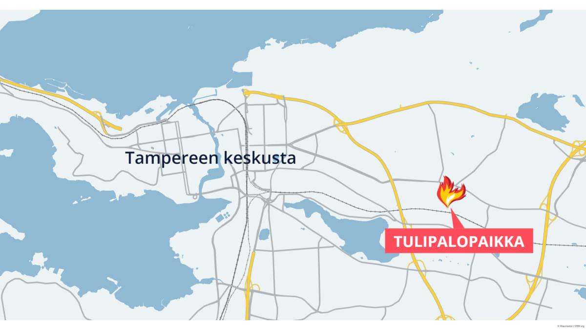 Kartalla tulipalopaikka, Lastaajankatu Tampere