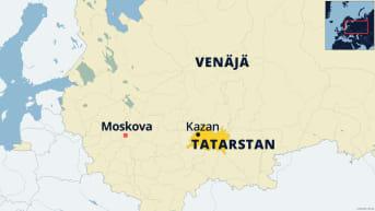 Venäjän kartta jossa näkyy Tatarstanin tasavalta ja sen pääkaupunki Kazan.