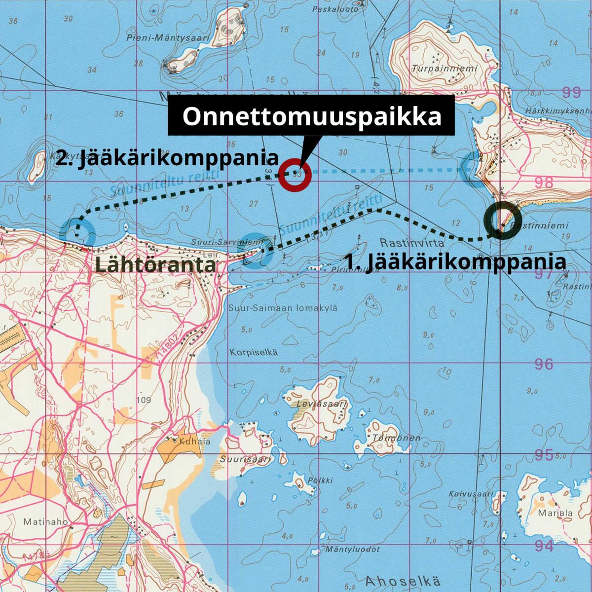 Karttagrafiikka Taipalsaaren onnettomuudesta, onnettomuuspaikka