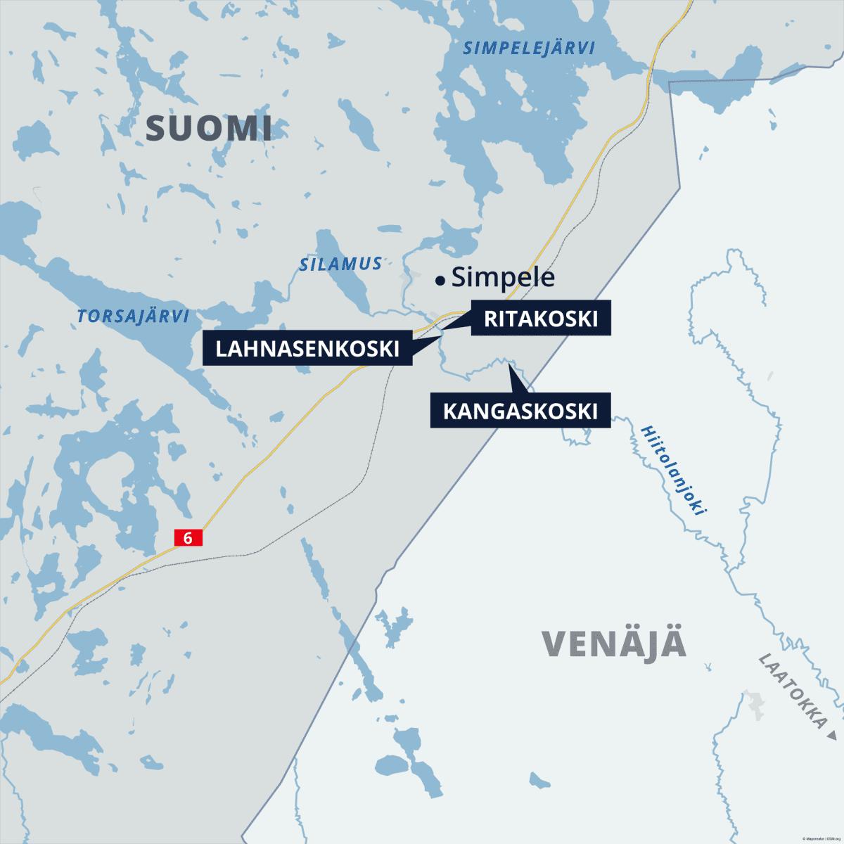Kartta, johon merkitty Hiitolanjoella sijaitsevat kolme voimalaitosta Lahnasenkoski, Ritakoski ja Kangaskoski.