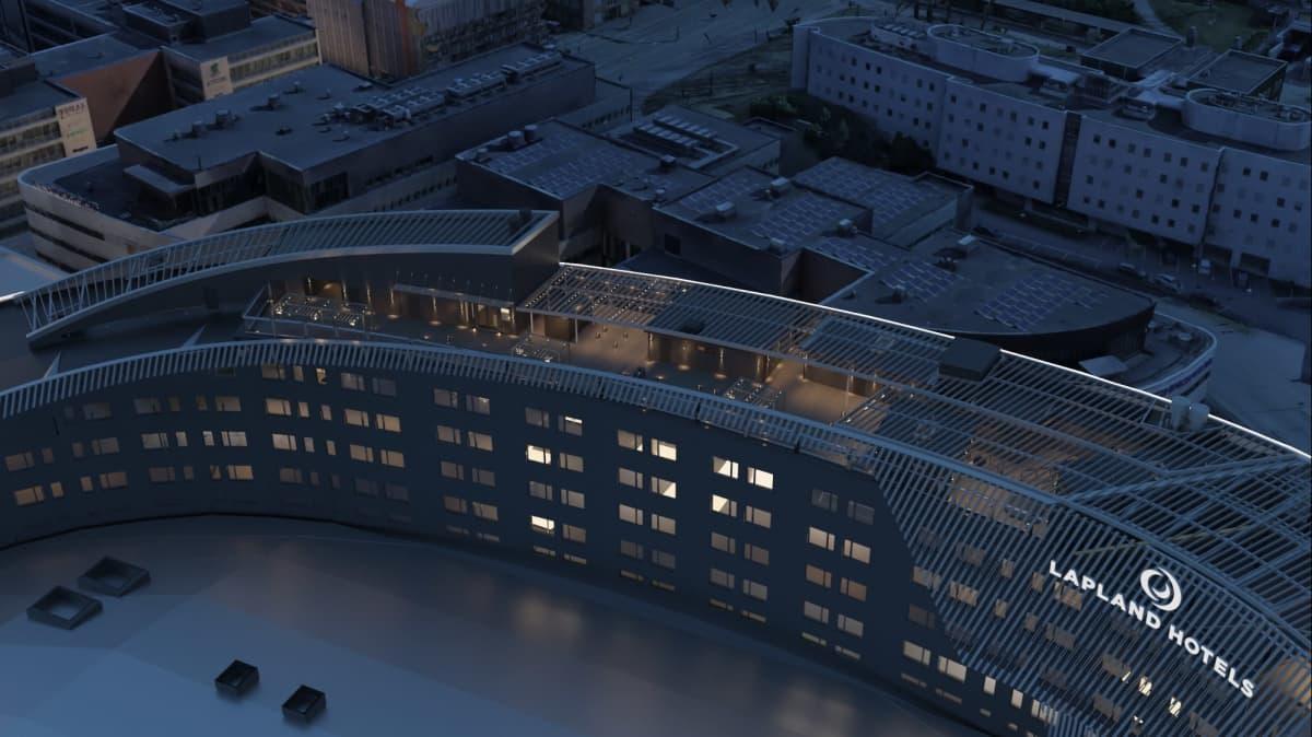 Havainnekuva Lapland Hotels Arenan kattoterassista
