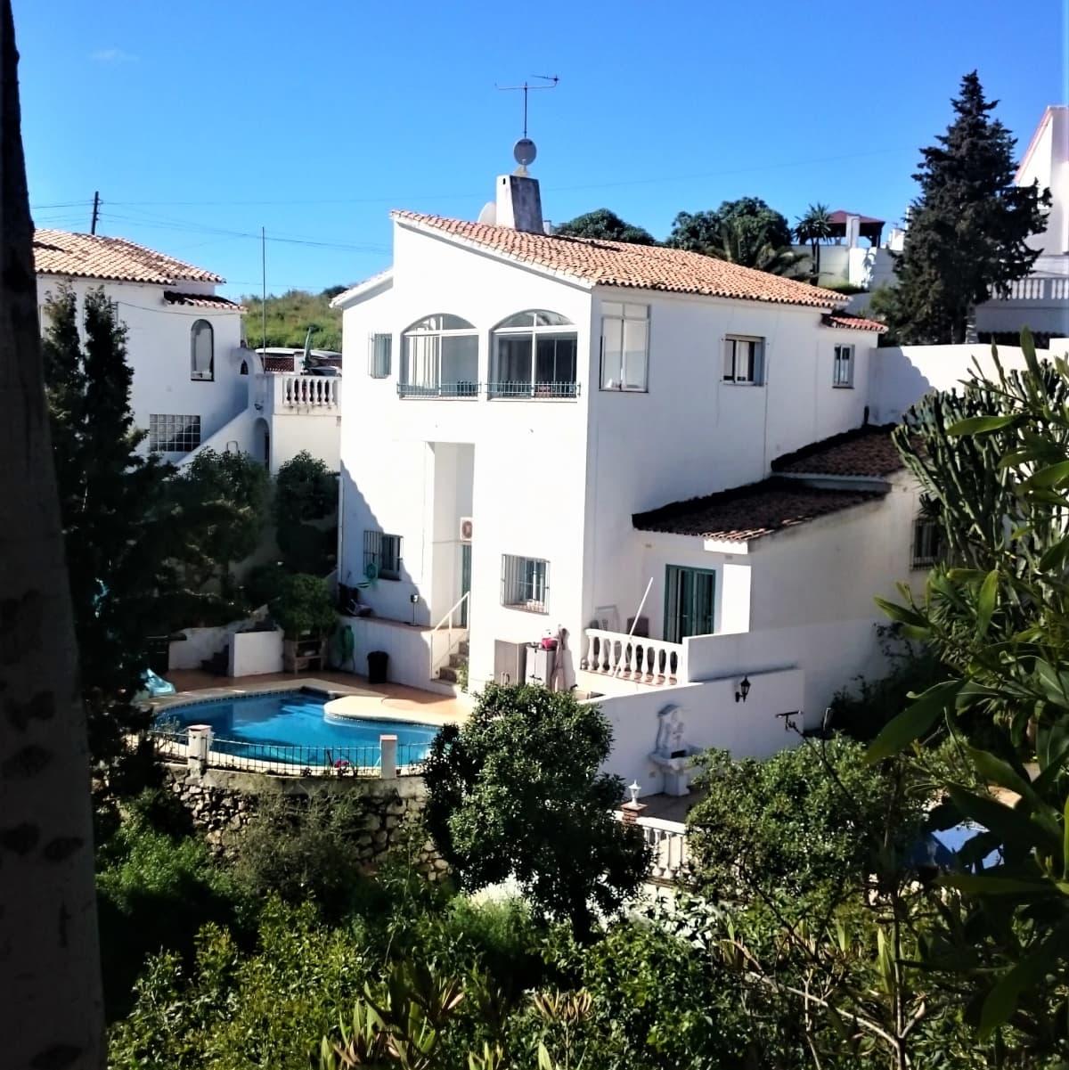 Talo ja uima-allas Espanjassa oliivipuiden ympäröimänä.