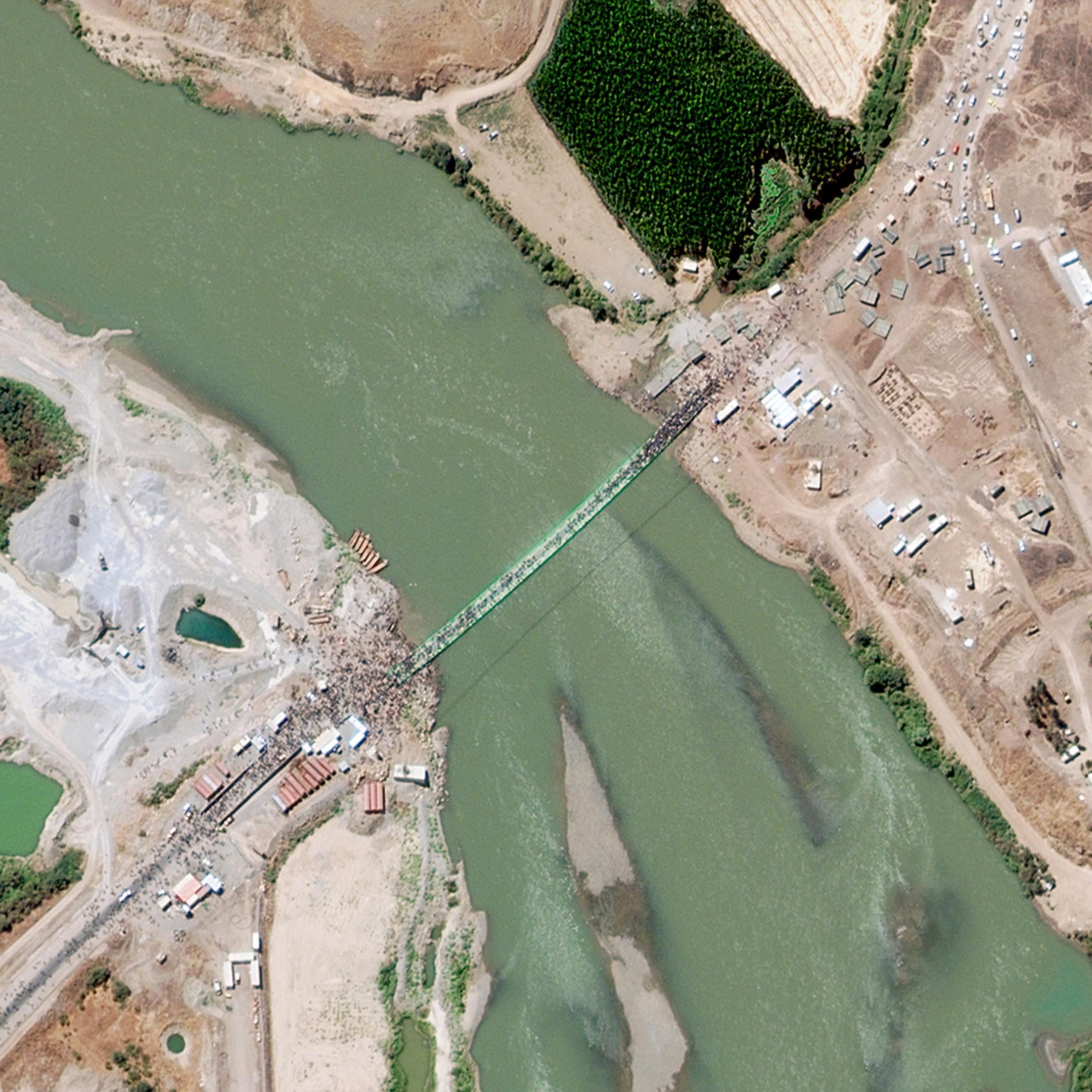 Satelliittikuva Syyrian ja Irakin rajalta.