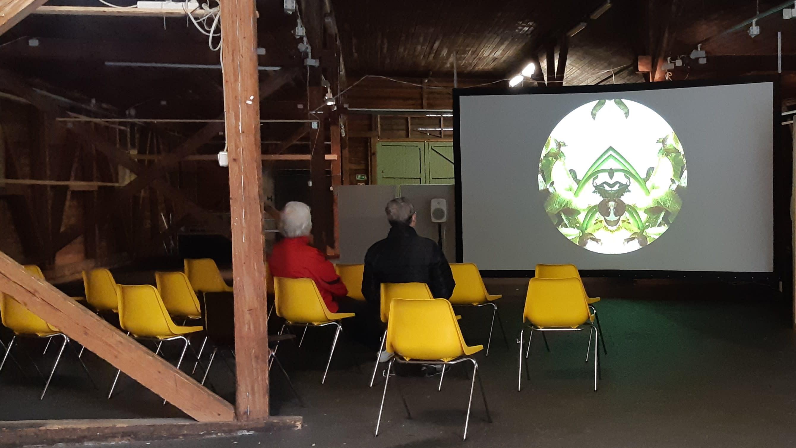 Kaksi henkilöä katsomassa mediataideteosta Lappeenrannan Vihreässä makasiinissa.