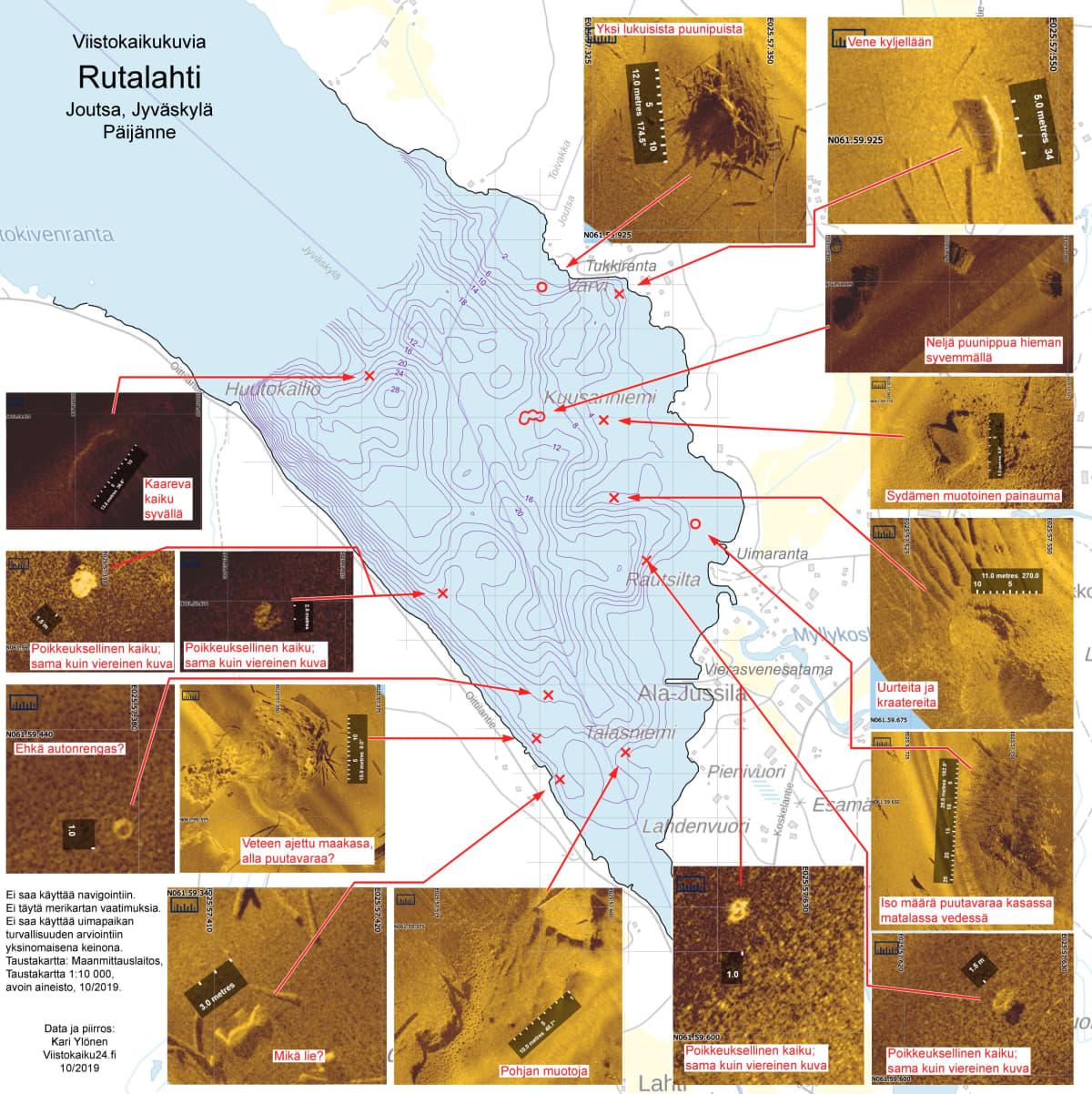 Viistokaikuluotaimella tehty kuva Rutalahden pohjasta.