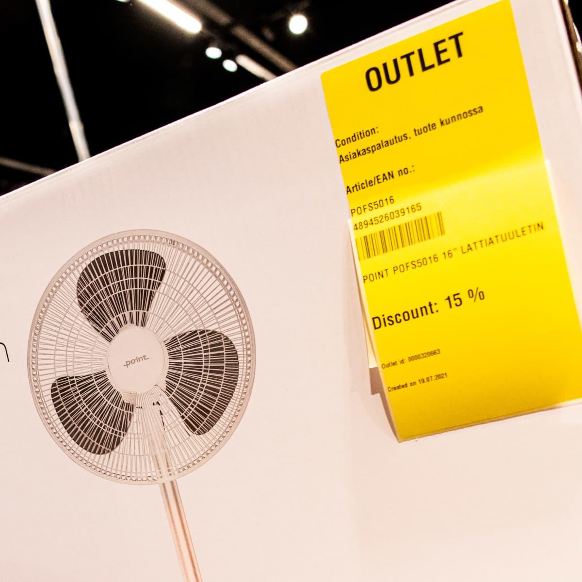 Asiakkaan palauttama tuuletin uudelleen myynnissä tarkastettuna outlet tuotteena.