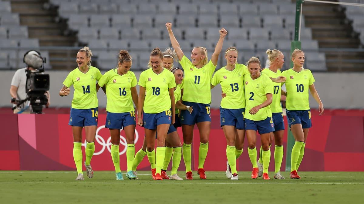 Ruotsi juhli voittoa Yhdysvalloista Tokion olympialaisissa 21.7.2021