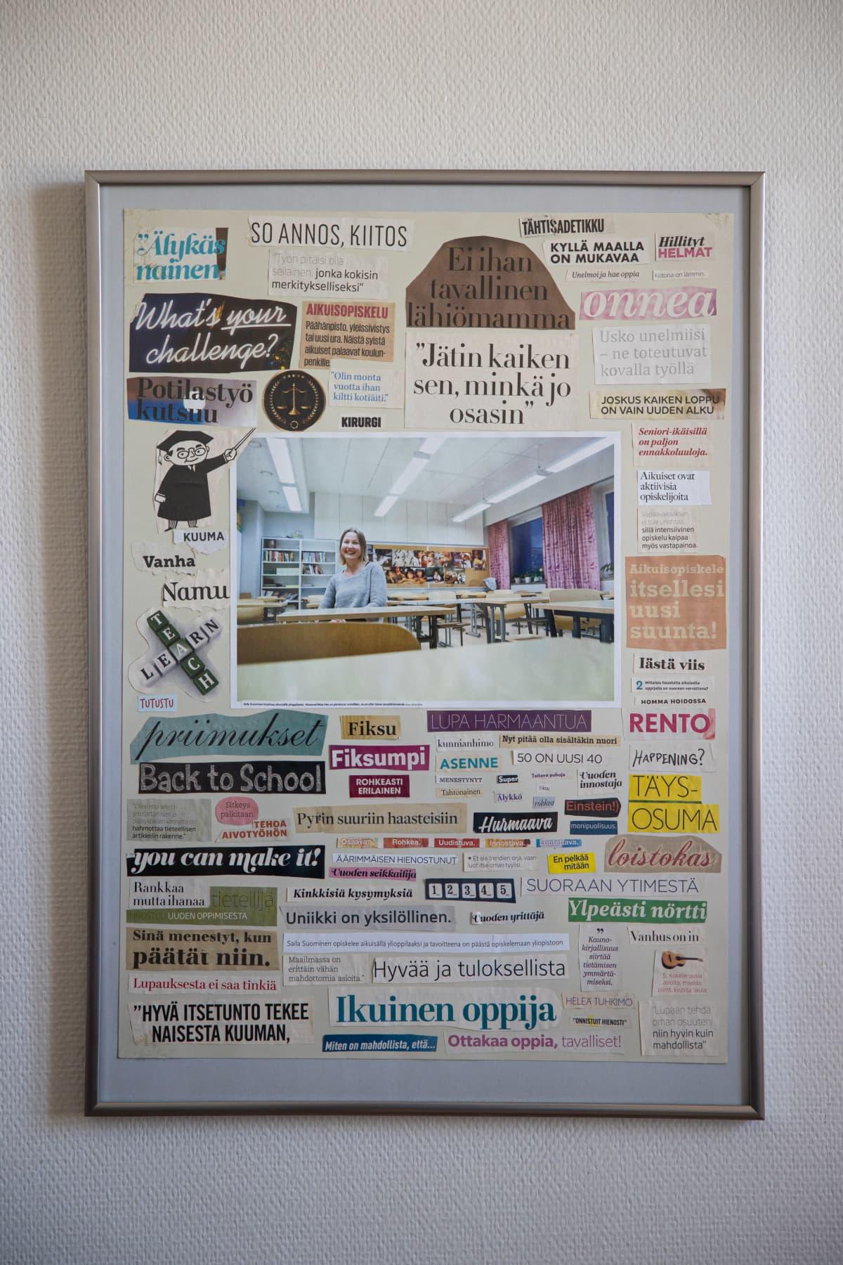 Taulu, jossa Sailan kuva ja ajatuksia ja otsikoita, joita on leikattu lehdistä.