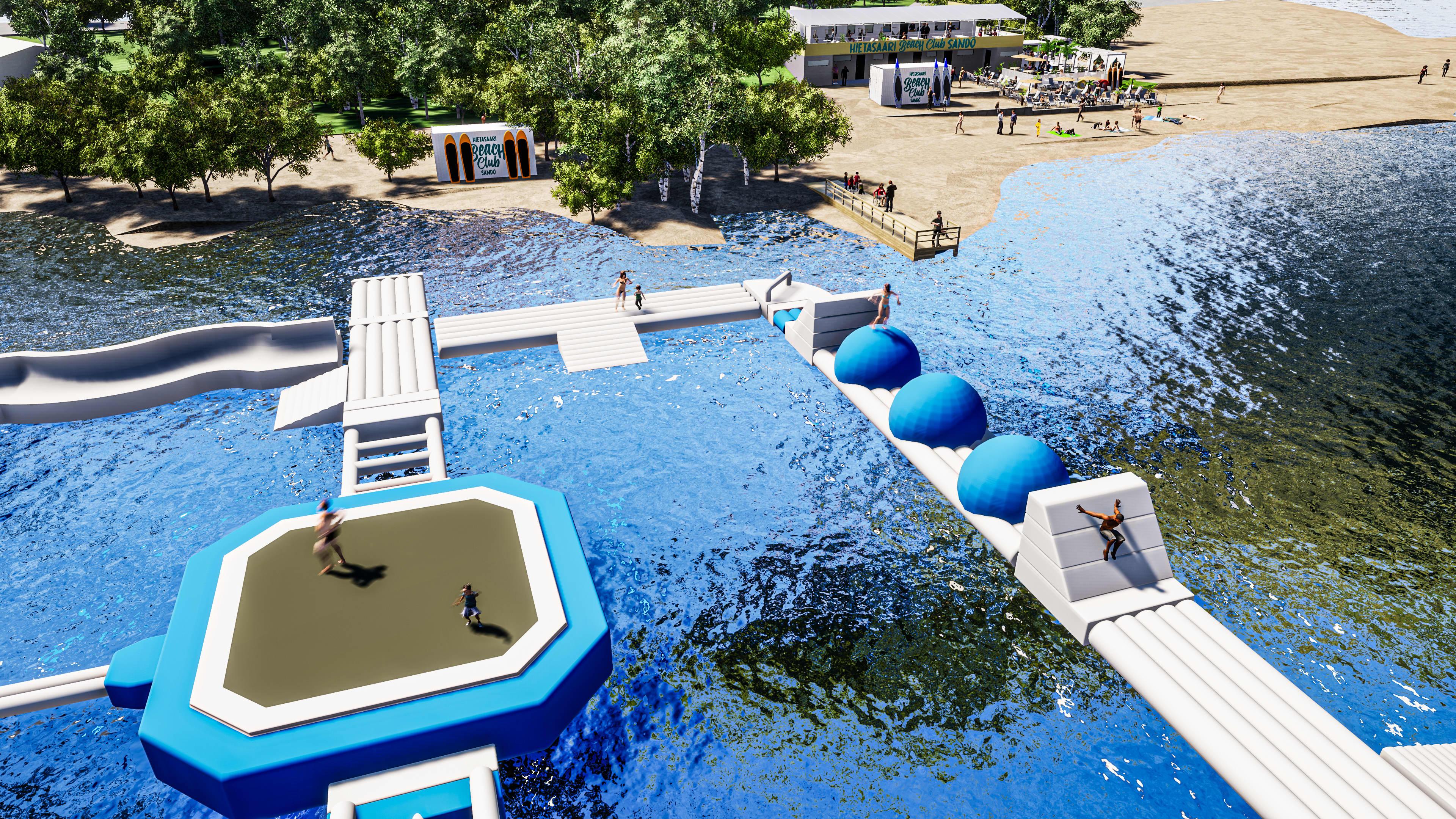 Havainnekuva kelluvasta vesipuistosta