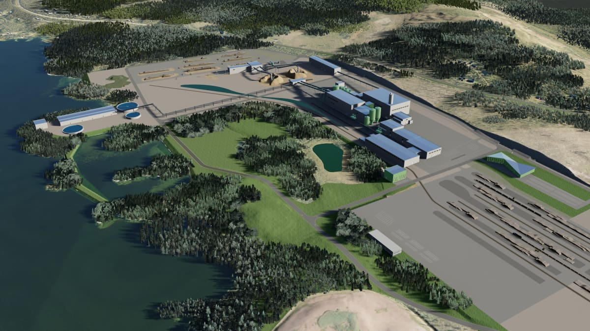 Havainnekuva suunnitellusta Kemijärven biojalostamosta