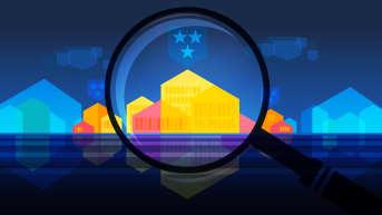 Kuntatutkan pääkuva jossa suurennuslasin alla on värikkäita taloja ja tummansinisiä vaakunoita.