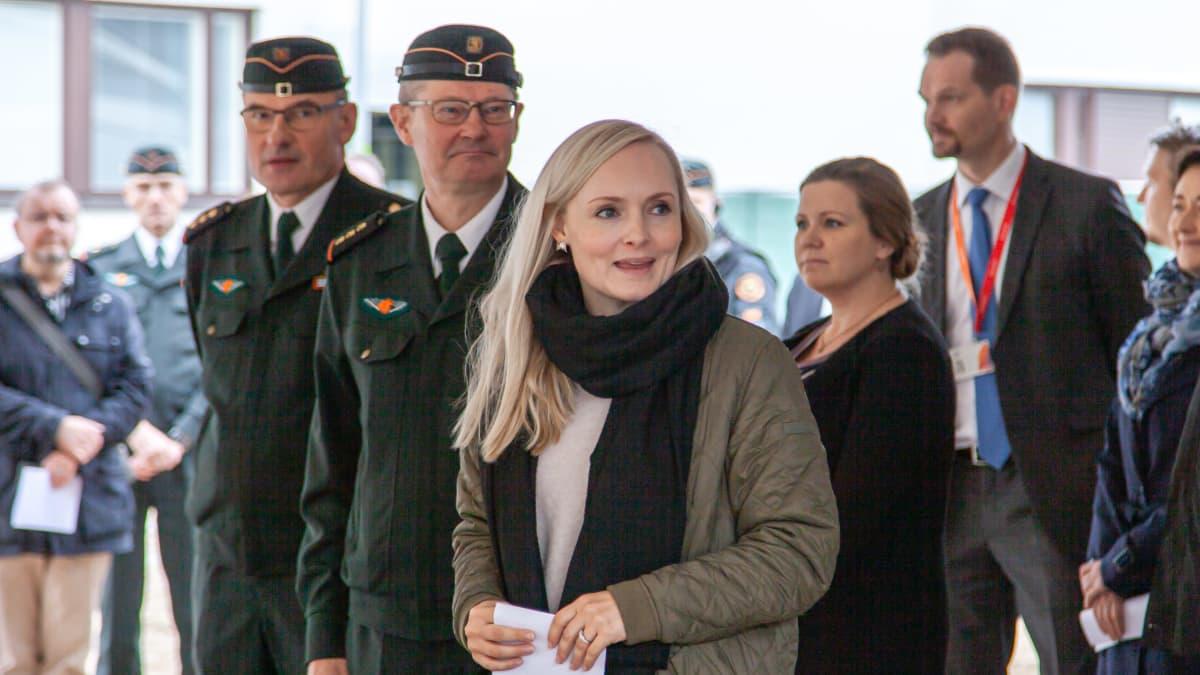 ministeri Maria Ohisalo Immolassa, Kaakkois-Suomen rajavartioston esikunnan uuden rakennuksen peruskiven muurauksessa.