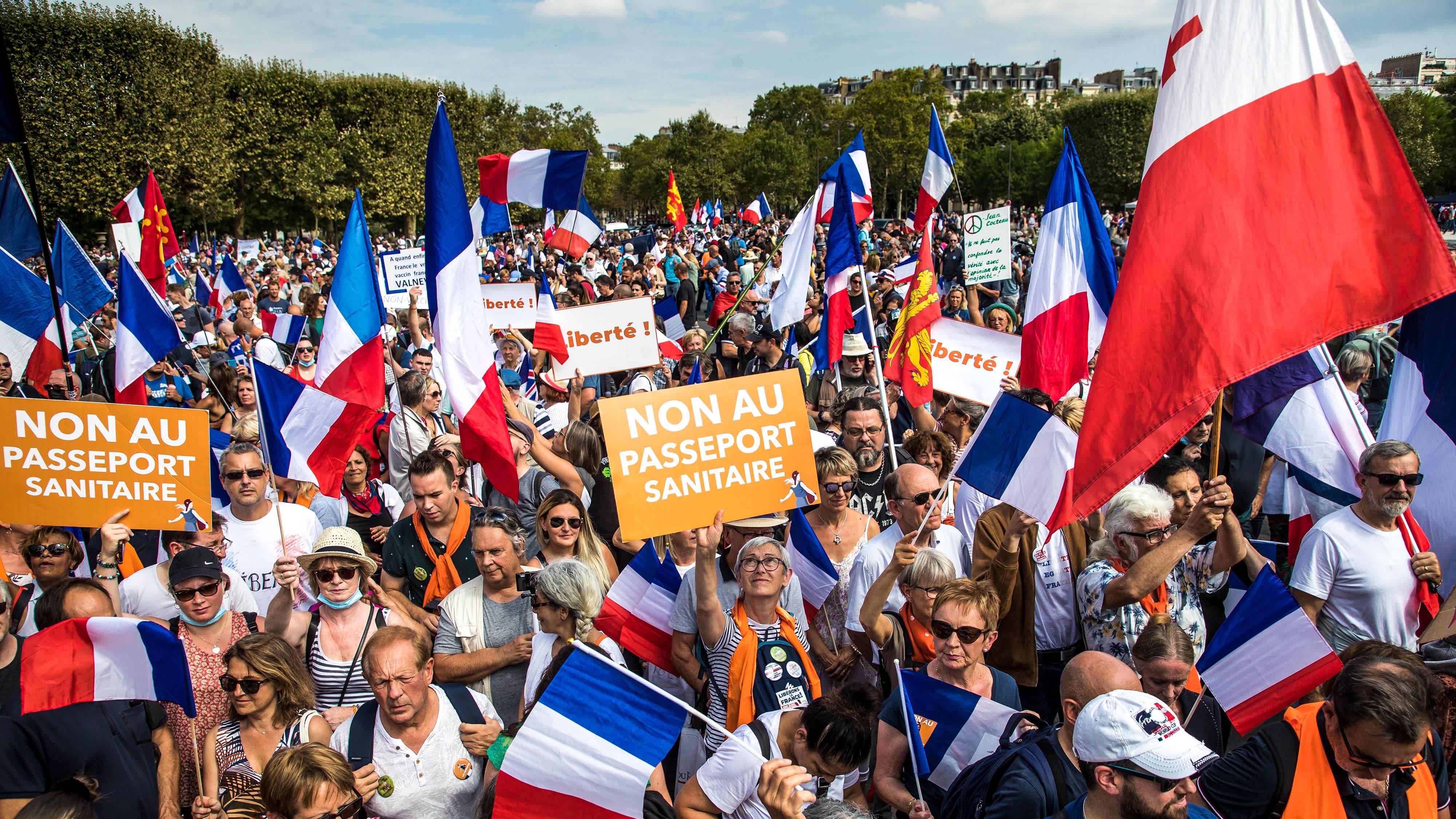 Mielenosoittajia kylttejä ja Ranskan lippuja heilutellen.