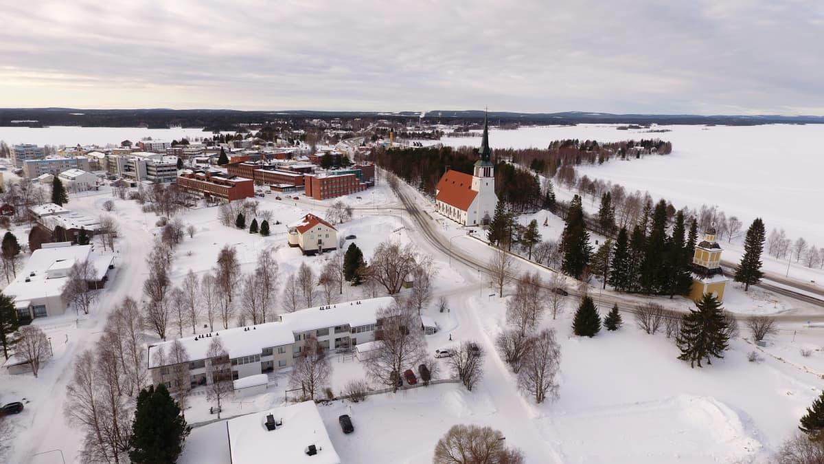 Kemijärven kaupunki ilmakuvassa.