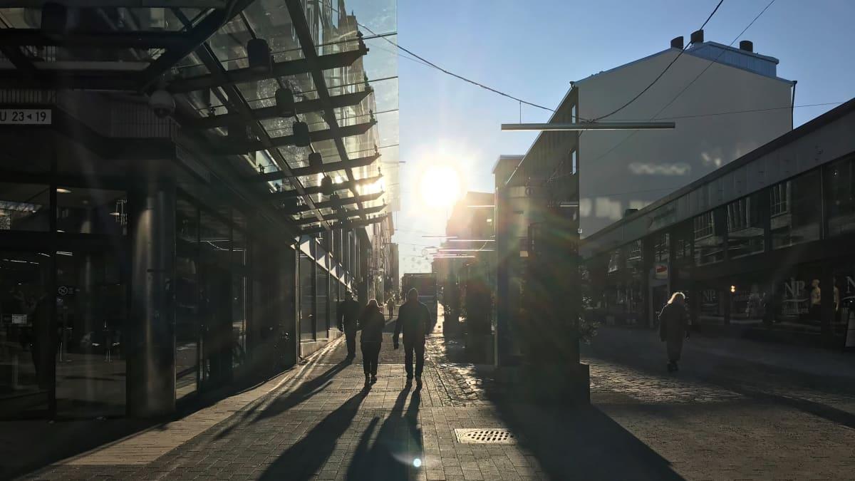 Rautatienkatu Lahden keskustassa helmikuussa 2020.