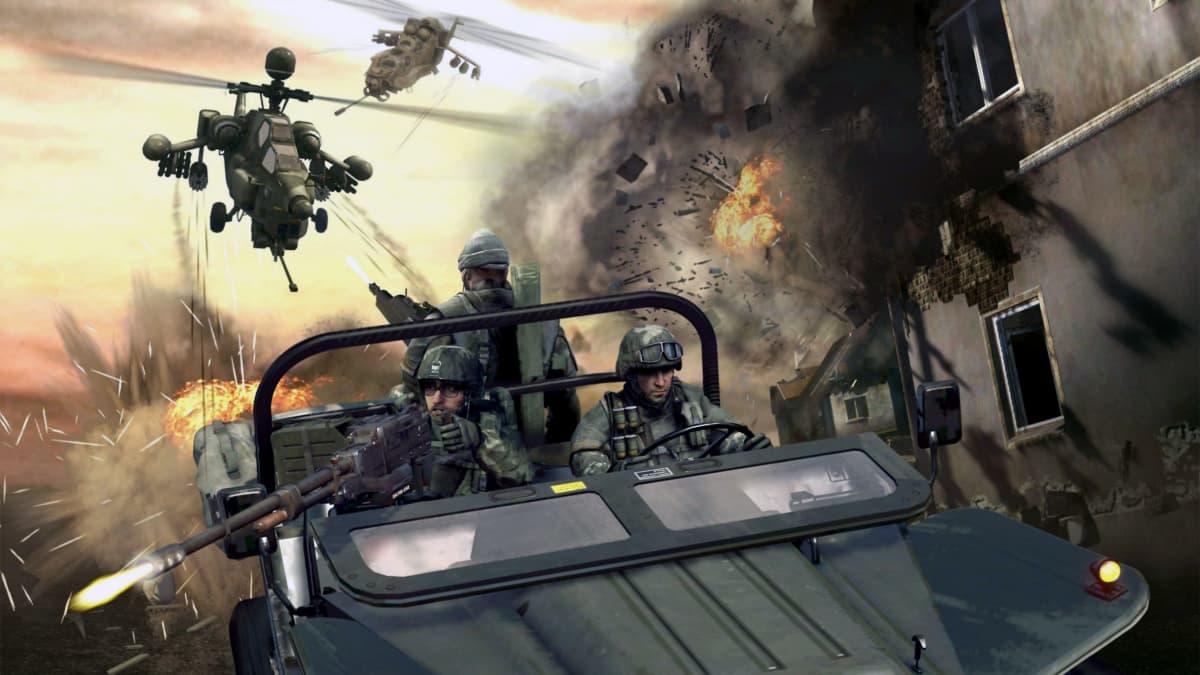 Helikoptereita ja taistelijoita videopeli Call of dutyssä.