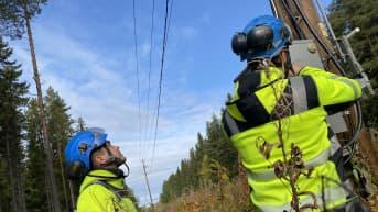 Asentajia korjaamassa myrskyn rikkomaa sähkölinjaa