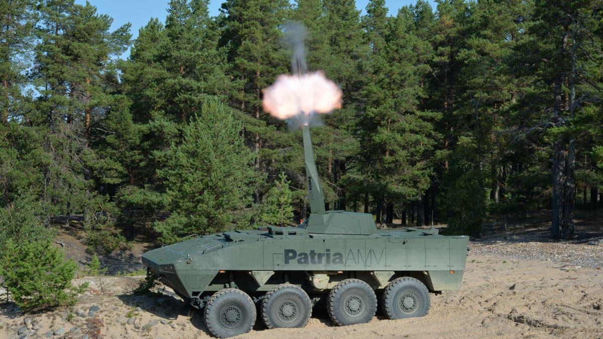 Kuvassa Patrian AMW-ajoneuvo ja Nemo-kranaatinheitinjärjestelmä
