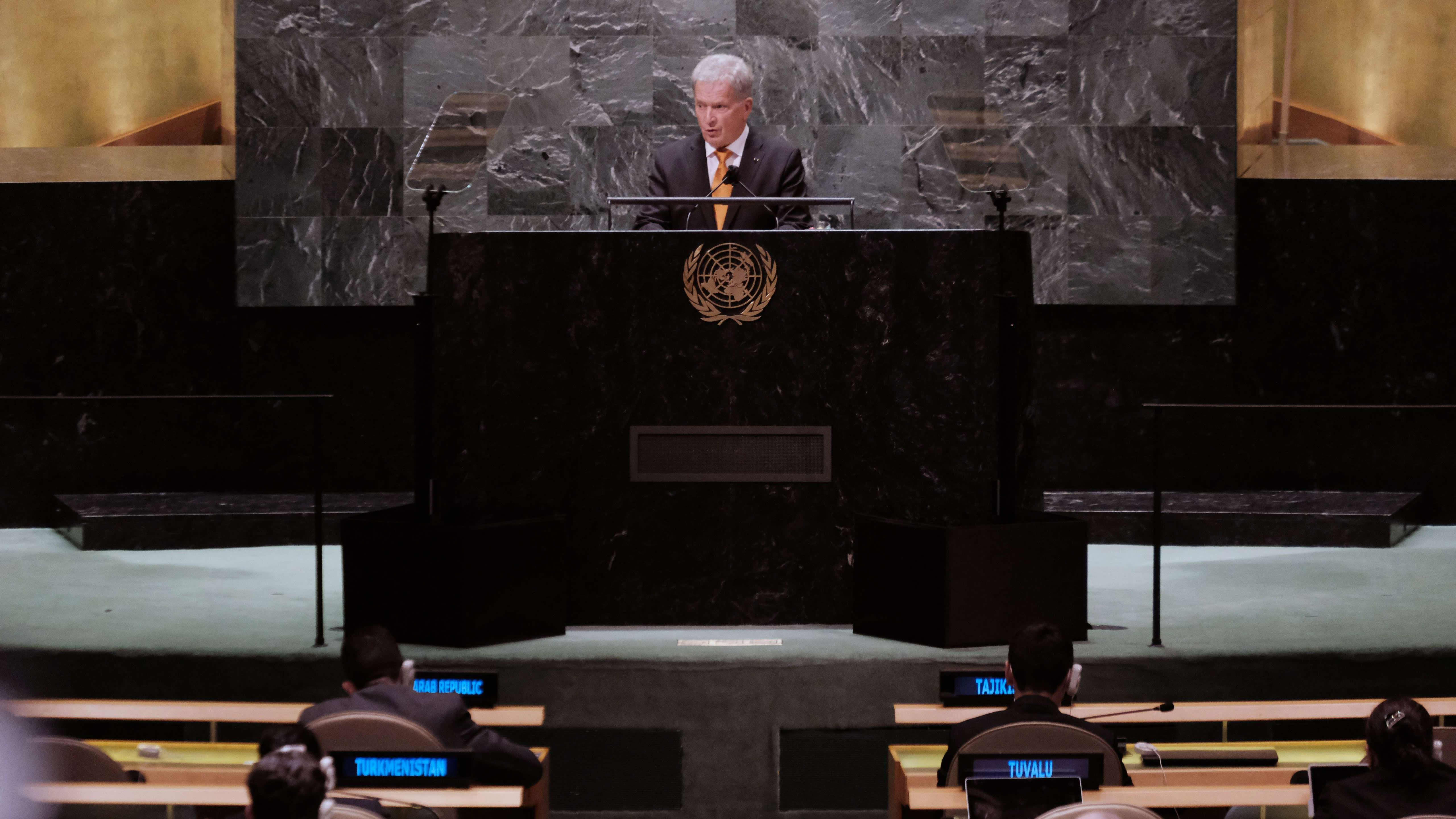 Suomen presidentti Sauli Niinistö pitää puhetta YK:n yleiskokouksessa New Yorkissa.