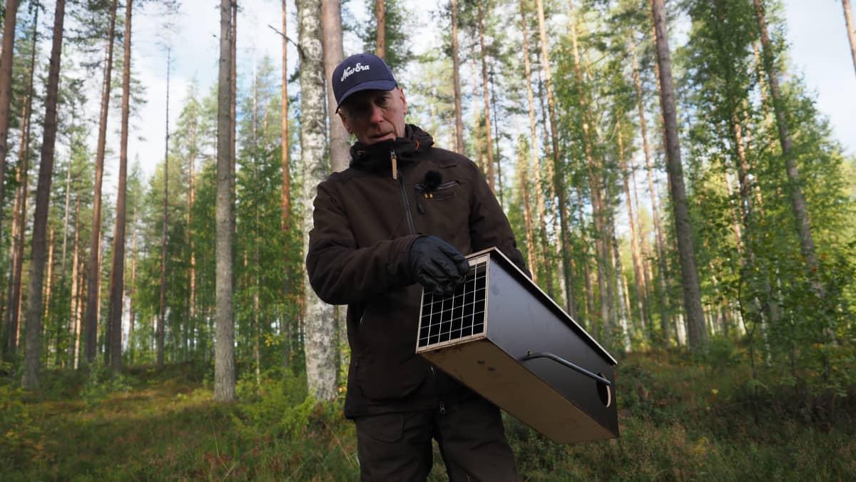 Riistapäällikkö Juha Kuittinen esittelee pienpetoloukkua.