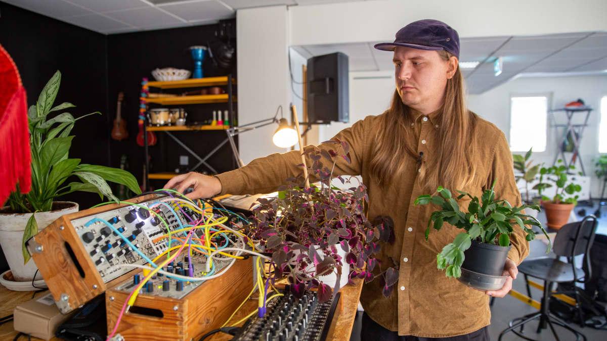 Viktor Toikkanen luo musiikkia kasveilla.