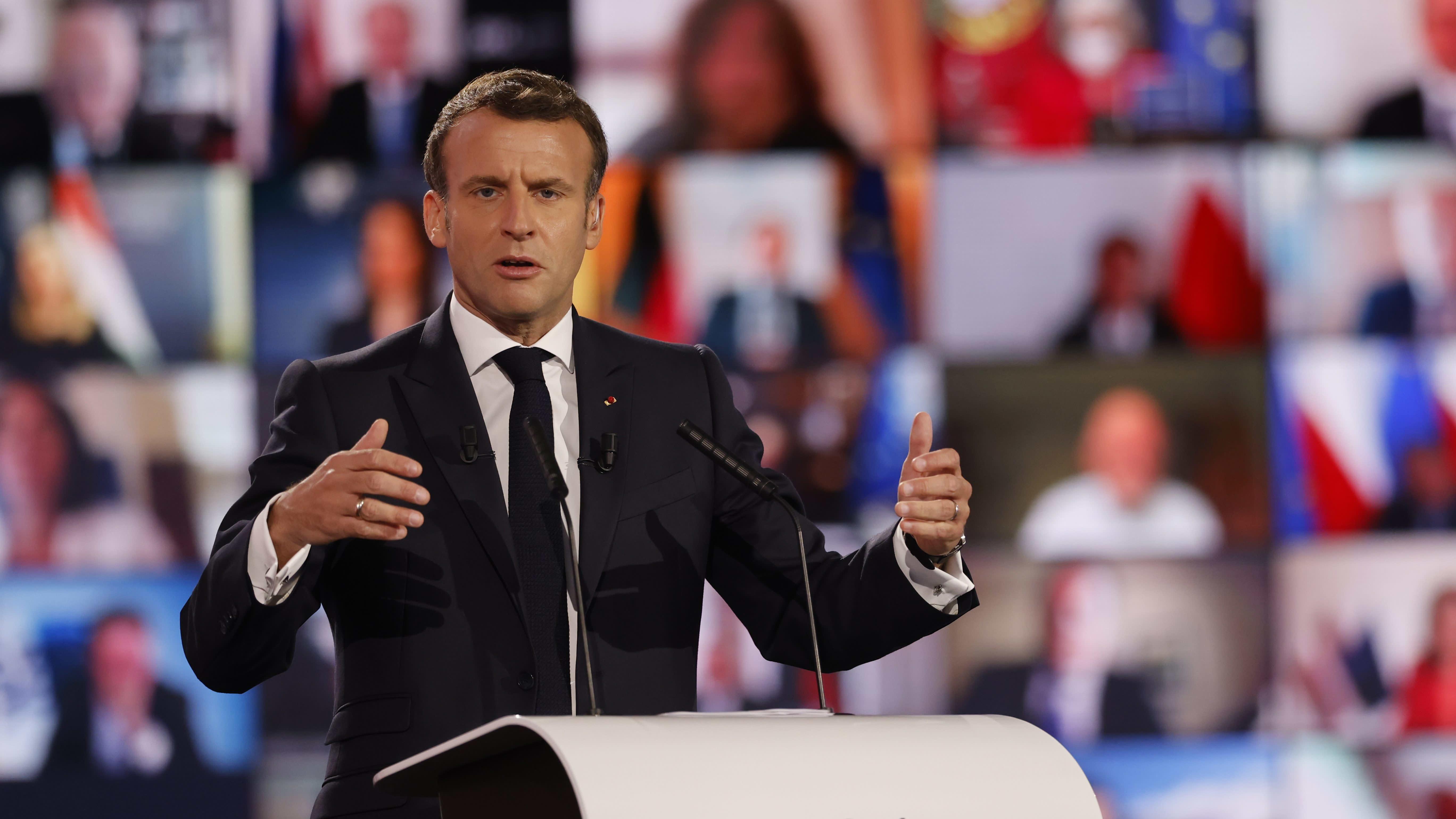 Ranskan presidentti Emmanuel Macron puhui Euroopan tulevaisuuskonferenssin avajaisissa Strasbourgissa.